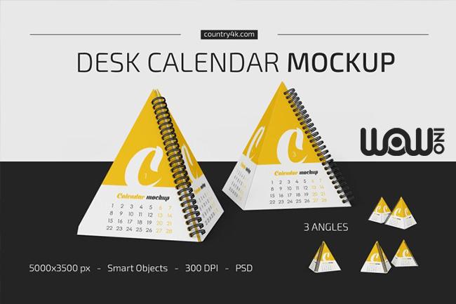 Spiral Pyramid Desk Calendar Mockup 5427530