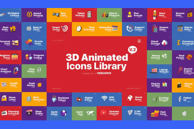 Videohive 3D Animated Icons Library